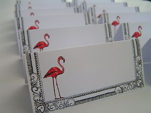 12 Childrens Girls Teenagers Flamingo PARTY PLACE NAME CARDS Handmade