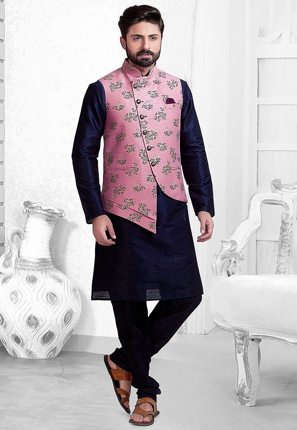 Men Kurta Multicoloured printed jacket and Pyjama Set