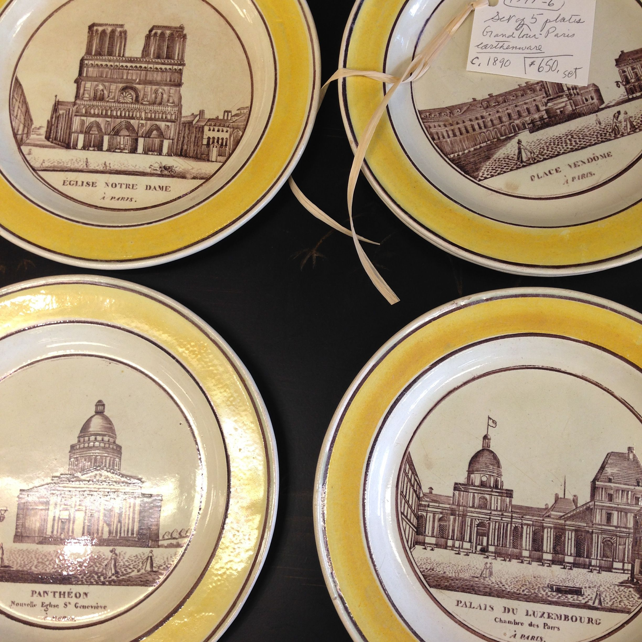5 French Plates, C. 1890. $650/set. Perfect color enhancement for the right kitchen, design