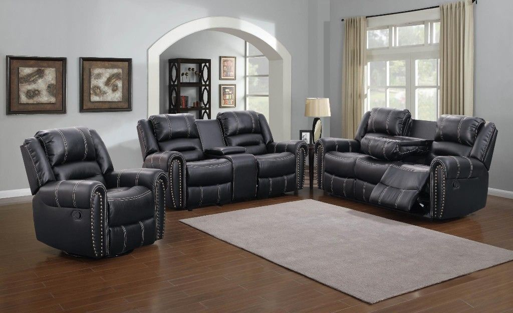 Braxton Loveseat With Storage Console Black Myco 1027 Lc Bk Ashley Furniture Living Room Living Room Recliner Living Room Sets