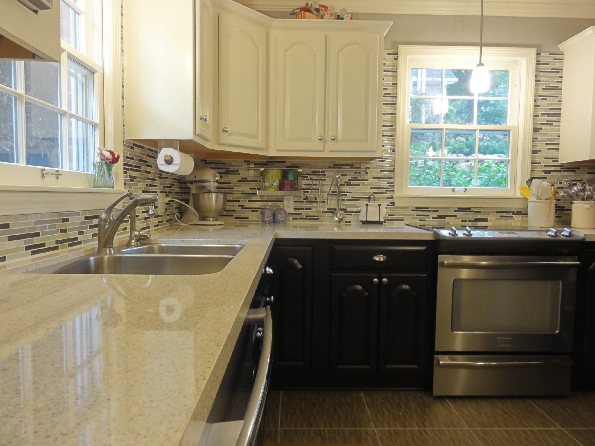 Ours two tone kitchen cabinets stainless appliances quartz Backsplash ideas quartz countertops