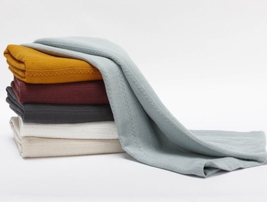Coyuchi organic cotton baby blanket in aspen weave design