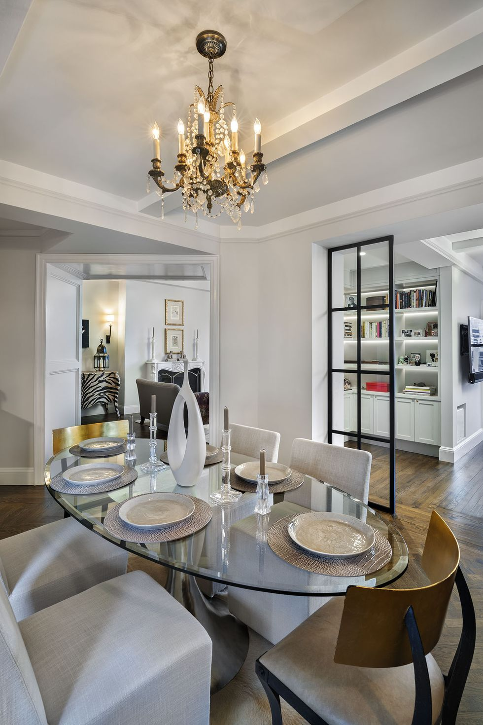 chanel glass dining table on inside a chanel fashion executive s high glam sutton place home home trends dining room decor home pinterest