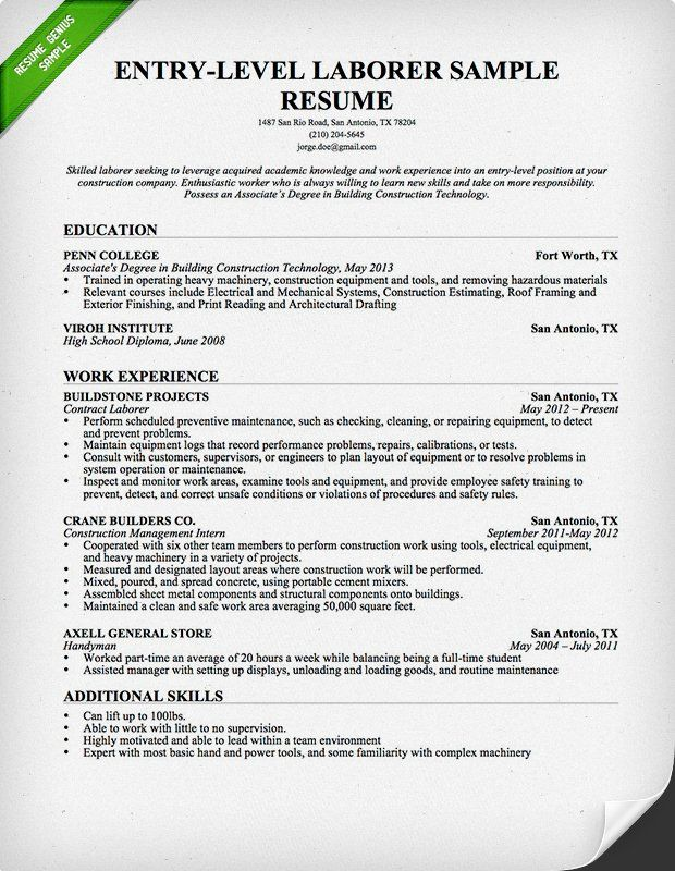 Free Resume Builder LABOR Pinterest Resume builder and - construction resume objective examples