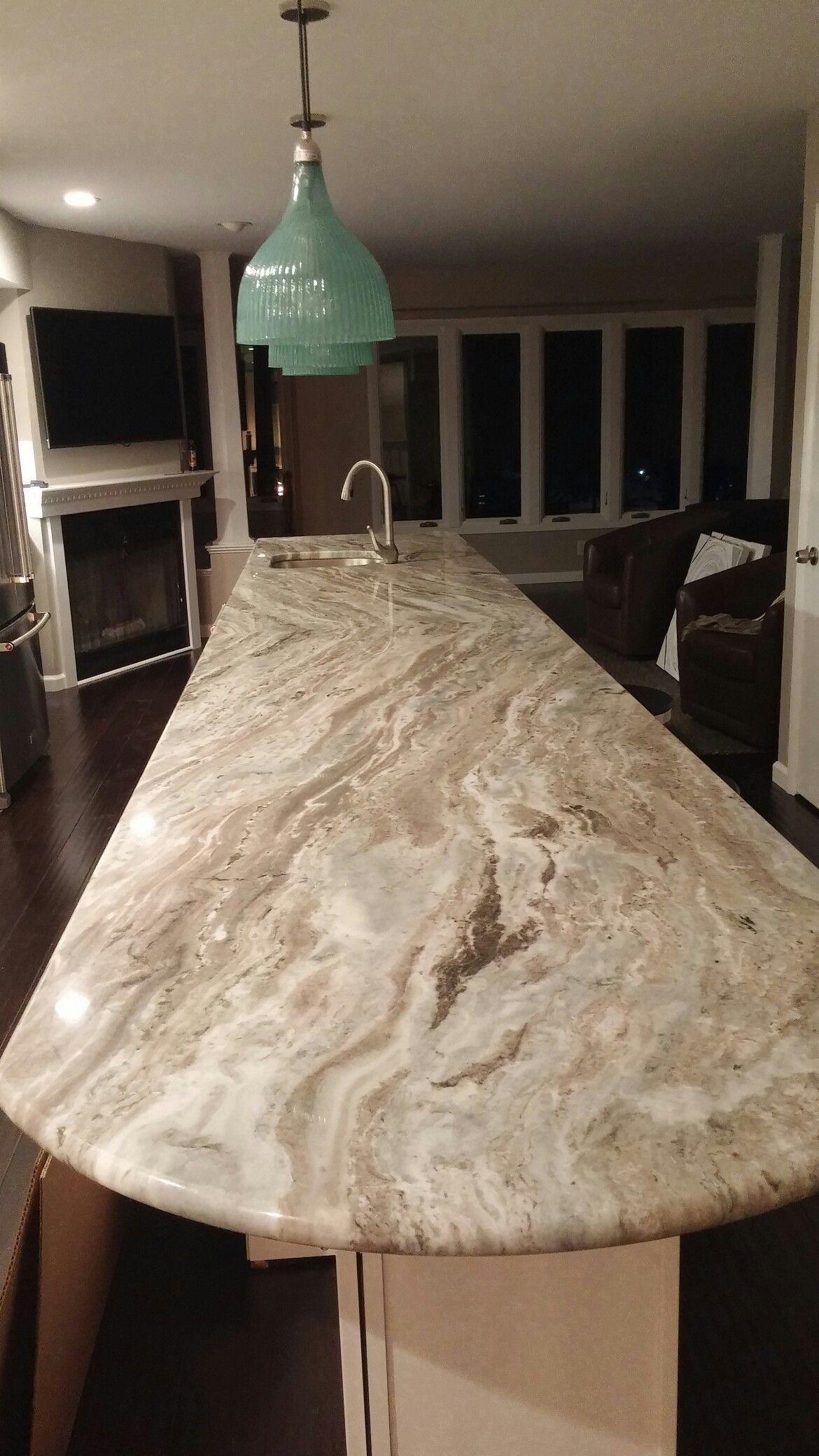 Countertops are fantasy brown granite the backsplash is marble - Fantasy Brown Granite 17 Feet Long