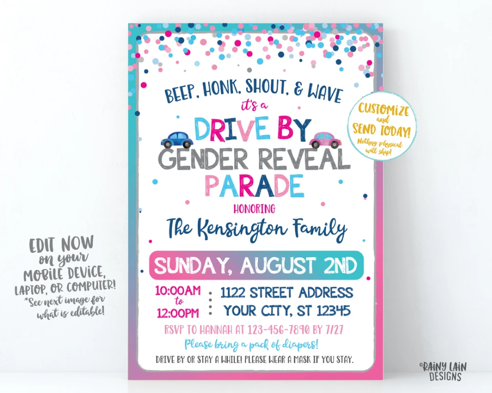 Gender Reveal Drive By Parade Invitation Gender Reveal Drive By Gender Reveal Invite Drive Through Gender Reveal Invite Social Distancing Gender Reveal Invitations Gender Reveal Invitation App