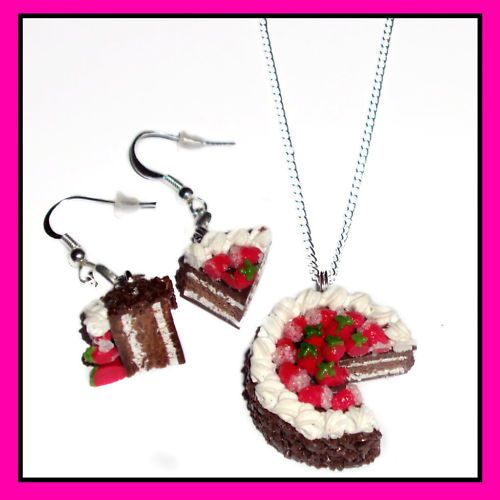 CUTE CAKE♥Earrings♥Necklace♥Birthday Present/Gift Idea!