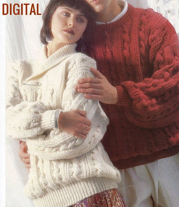 Instant pdf digital download vintage knitting pattern ladies womens instant pdf digital download vintage knitting pattern ladies womens mens aran sweater pullover jumper shawl collar crew neck chest 32 42 dt1010fo