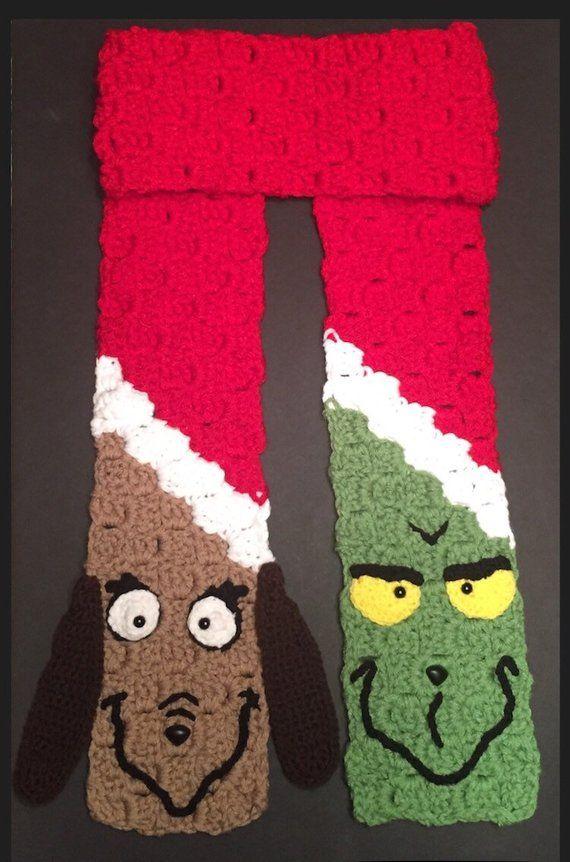Items similar to Grinch Scarf 76 The Grinch Scarf Crochet Winter Scarf Grinch Gift Grinch Christmas Gift Grinch Dog Grinch Max Grinch Hat on Etsy