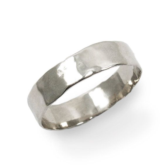 Men White Gold Thin Hammered Wedding Band Gr9303 By Chucharings