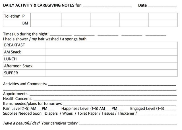 photograph about Printable Caregiver Forms referred to as Each day Notes for Caregivers with Free of charge Printable Sorts for