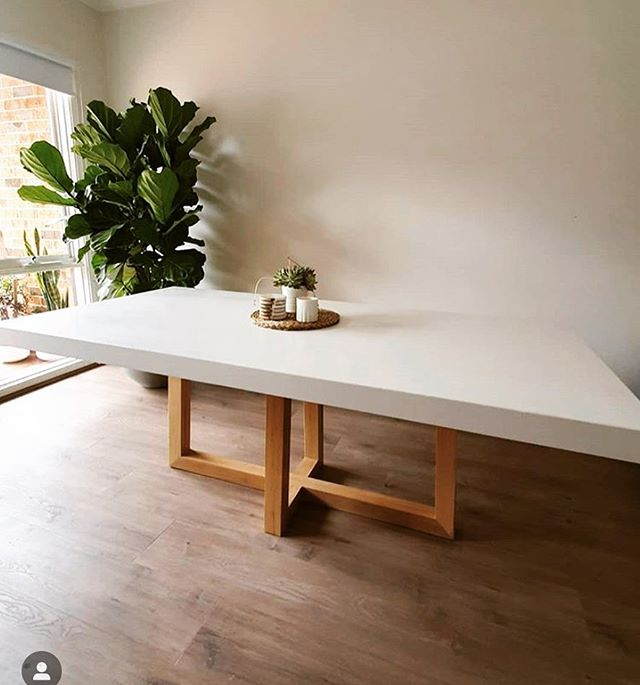White Concrete Dining Table With Blackbutt Legs Thenicelife