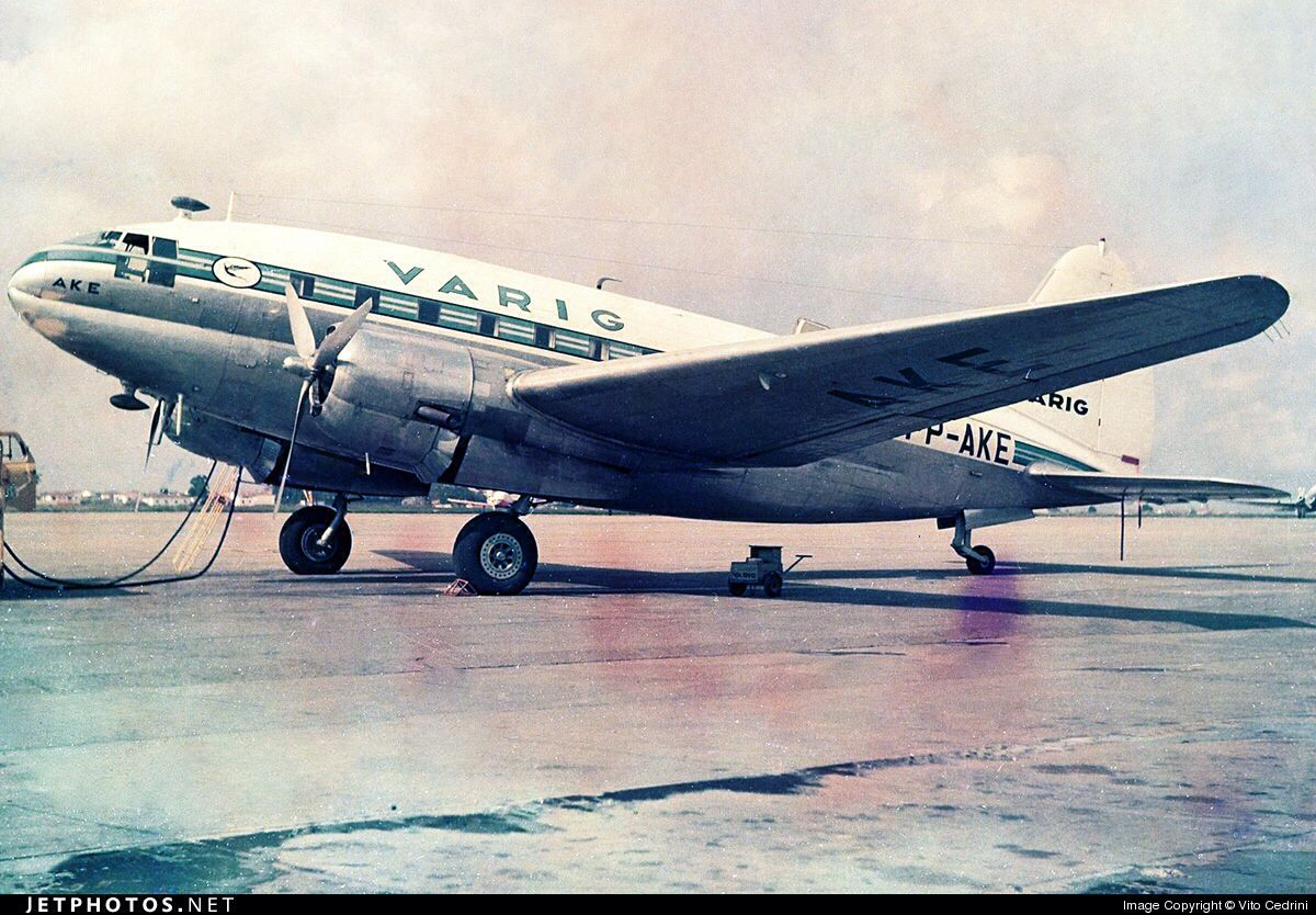 Curtiss C-46 Commando, Varig Airlines, Congonhas Airport, Sao Paulo, Brazil. Circa 1966.