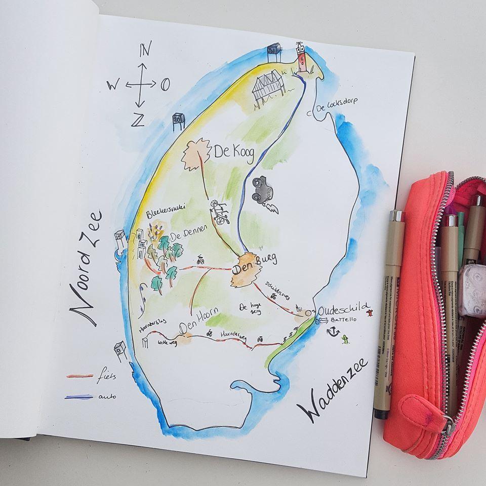 Dagboek Plattegrond Texel Plattegrond Logo Ontwerp Illustraties