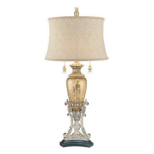 Ambience AM 10118 Weathered White and Antique Gold 2 Light Table Lamp #Ambience #Traditional