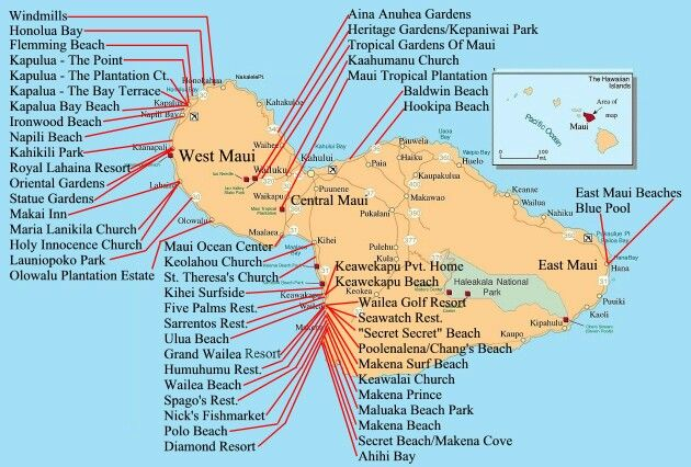 Map Of Maui Beaches Maui beach map | Places in 2019 | Maui, Maui hawaii, Hawaii Map Of Maui Beaches