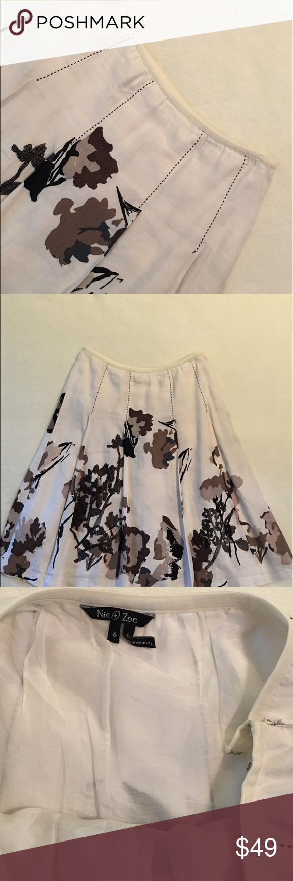 "NIC + ZOE skirt Used in excellent condition NIC + Zoe flirty flare floral print skirt; large pleats; side zipper & hook; small elastic trim around waist for extra room; waist to bottom is 25"", make an offer NIC + ZOE Skirts"