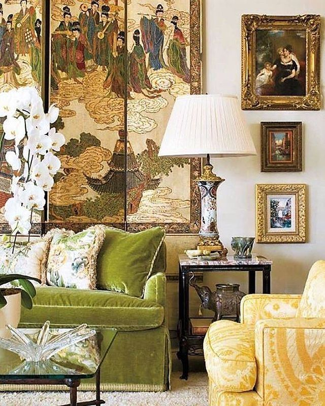 Chartreuse Velvet   HOW ABSOLUTELY EXQUISITE IS THIS GLORIOUS ROOM, WITH  THE CHARTREUSE VELVET SOFA, AWESOME DECOR U0026 MAGNIFICENT WALL DECOR!!