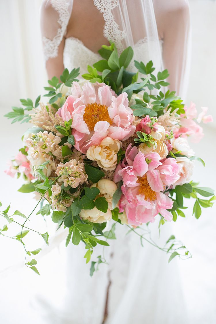 Bridal Bouquet With Coral Charm Peonies And Garden Roses By Cincinnati Wedding Florist Floral Verde