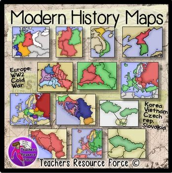 World War 2 and The Cold War Modern History Maps | Civil wars ...