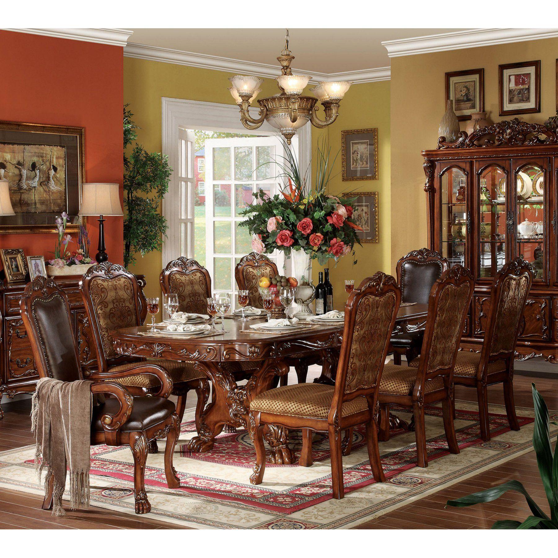 Acme Furniture Dresden Cherry 9 Piece Trestle Dining Table Set Acm1396