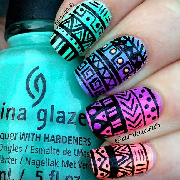 How to Do Ombre Nail Art at Home | Uña decoradas, Diseños de uñas y ...