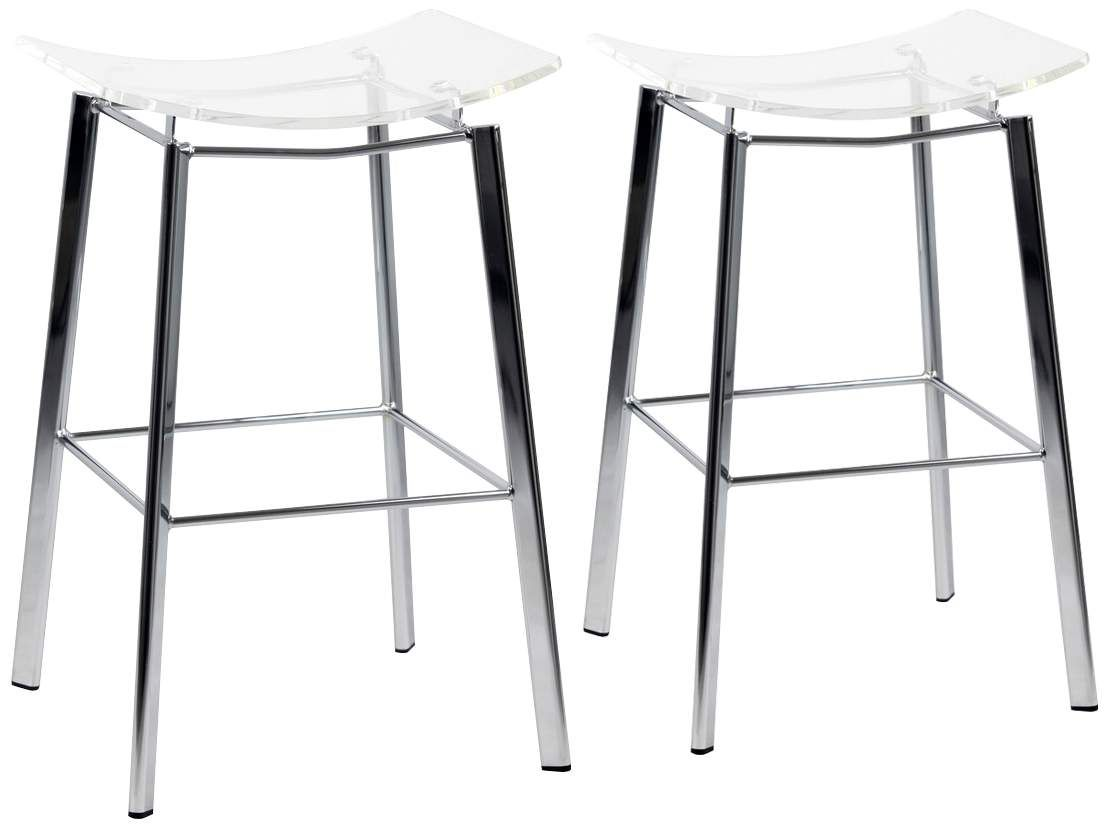 Artina 25 Inch Clear Acrylic And Chrome Counter Stool Set Of 2