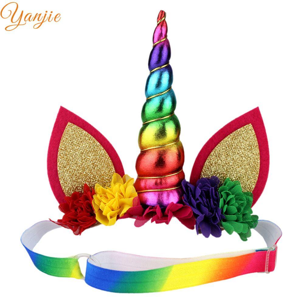 Rainbow Unicorn Horn Hair HeadBand Accessories Young Girls Brand New