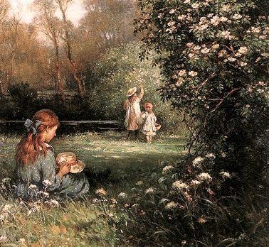 Children Pick Wild Roses William Kay Blacklock British 1872 1922 Classic Paintings Portrait Painting