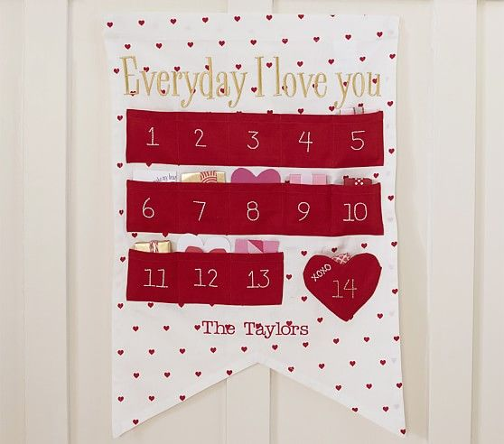 personalized valentine's day countdown calendar | pottery barn, Ideas