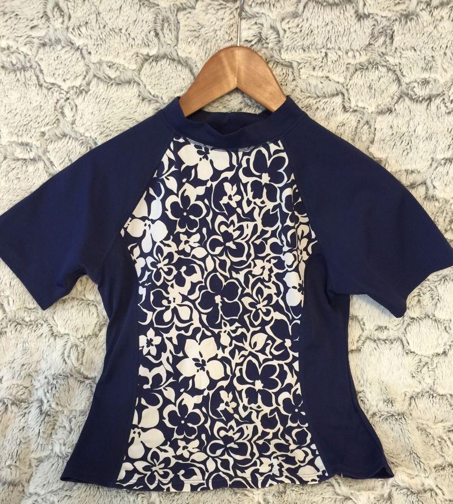 Lands End Girls Navy Blue & White Floral Rash Guard Swim Shirt Medium (10-12) #landsend #RashGuard