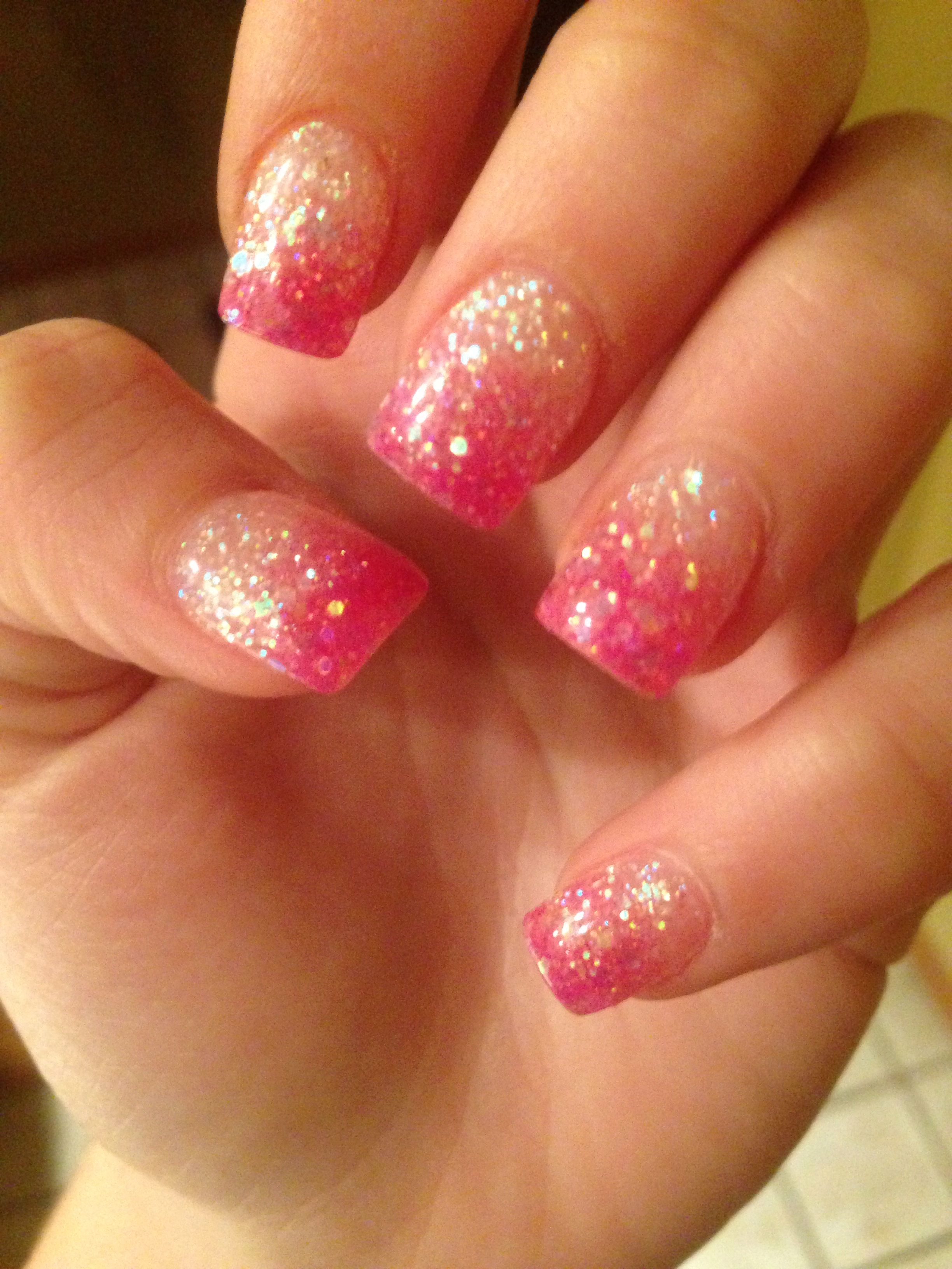 Pink sparkly prom nails  Nails  Pinterest  Prom nails
