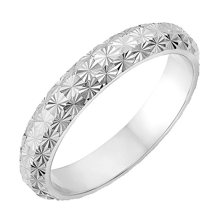 9ct White Gold 35mm Domed Diamond Cut Wedding Ring Diamond cuts