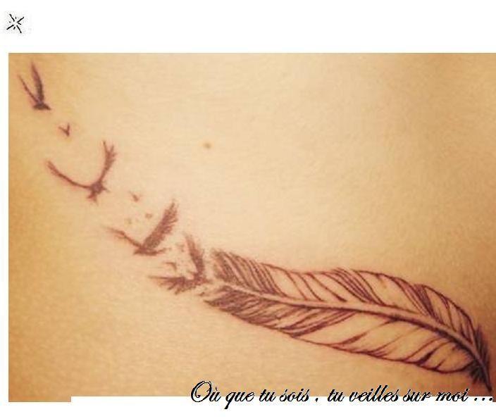 Modele Tatouage Plume Oiseau Qui S Envole Tattoo Federn Et Deko