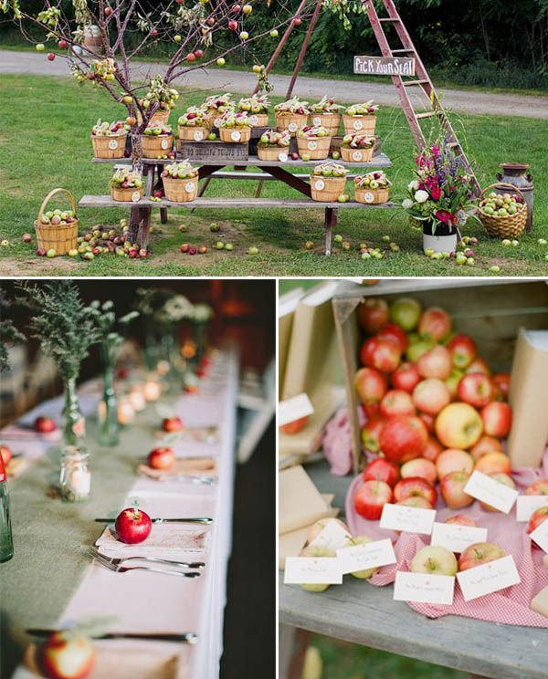 apple place cards for a fall wedding