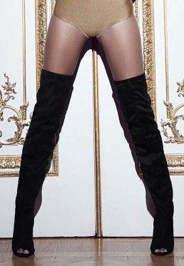 09959741535 Peace + Love Over The Knee Peep Toe Boots Black