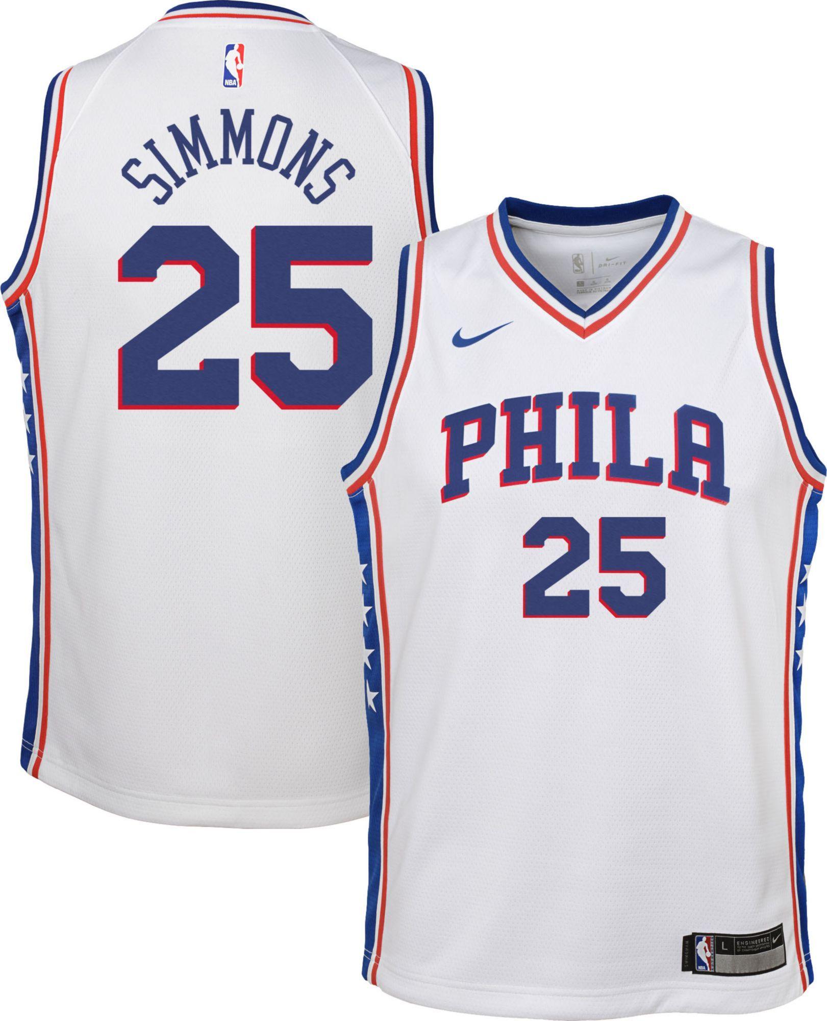 newest c2358 c4077 Nike Youth Philadelphia 76ers Ben Simmons #25 White Dri-FIT ...