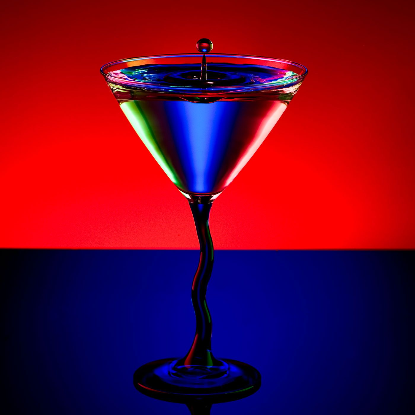 The Perfect Drop Red And Blue Colored Glass Wine And Spirits
