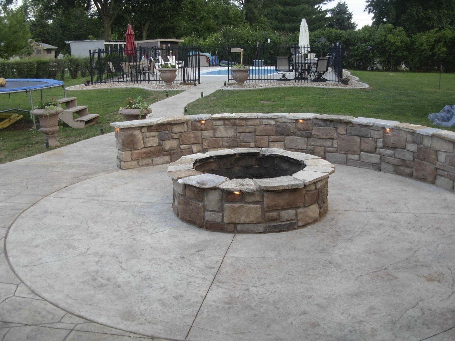 Concrete Patio With Fire Pits Pictures | Fire Pit U0026 Sitting Wall