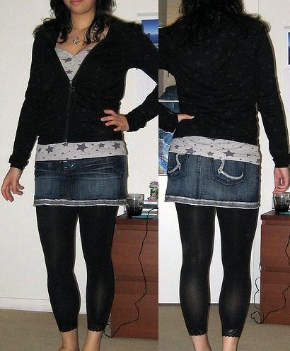 b69d9beac6beb Leggins with denim skirt and stars | My Style | Skirt leggings ...