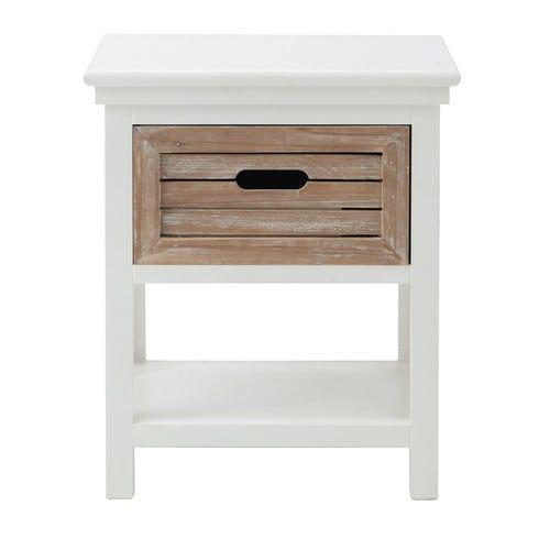 Mesita de noche con cajón de madera blanca 40 cm de largo Cajones