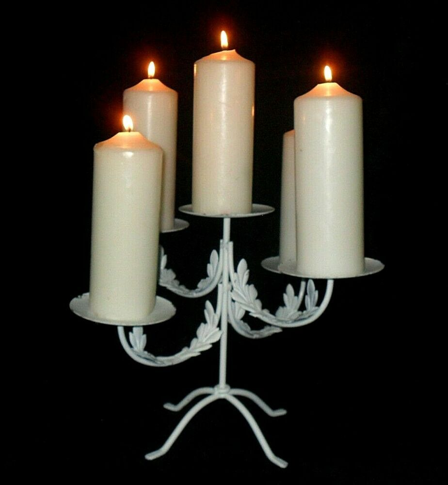 Details About Charming White Metal Candle Holder 5 Candles 12x17 Romantic Tabletop Centerpiece Metal Candle Metal Candle Holders Candle Sticks Wedding