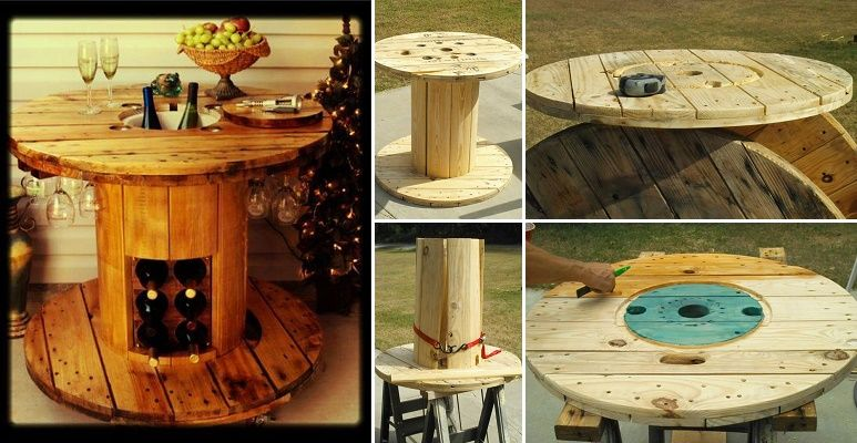 Wire spool repurposed into a wine table ikea decoration for Wooden cable reel ideas