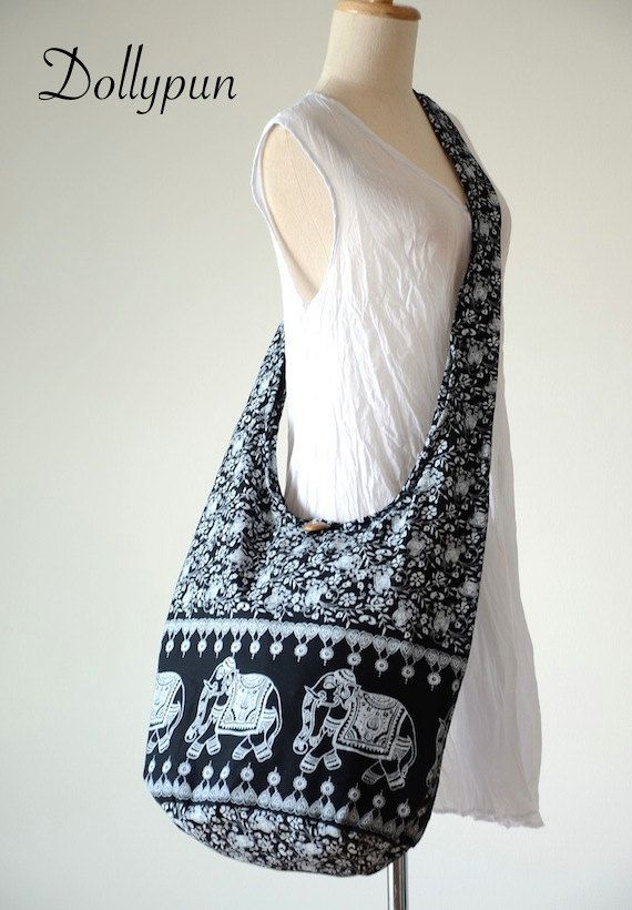 BLACK  Indian Elephant Printed Cotton Bag Hippie by Dollypun