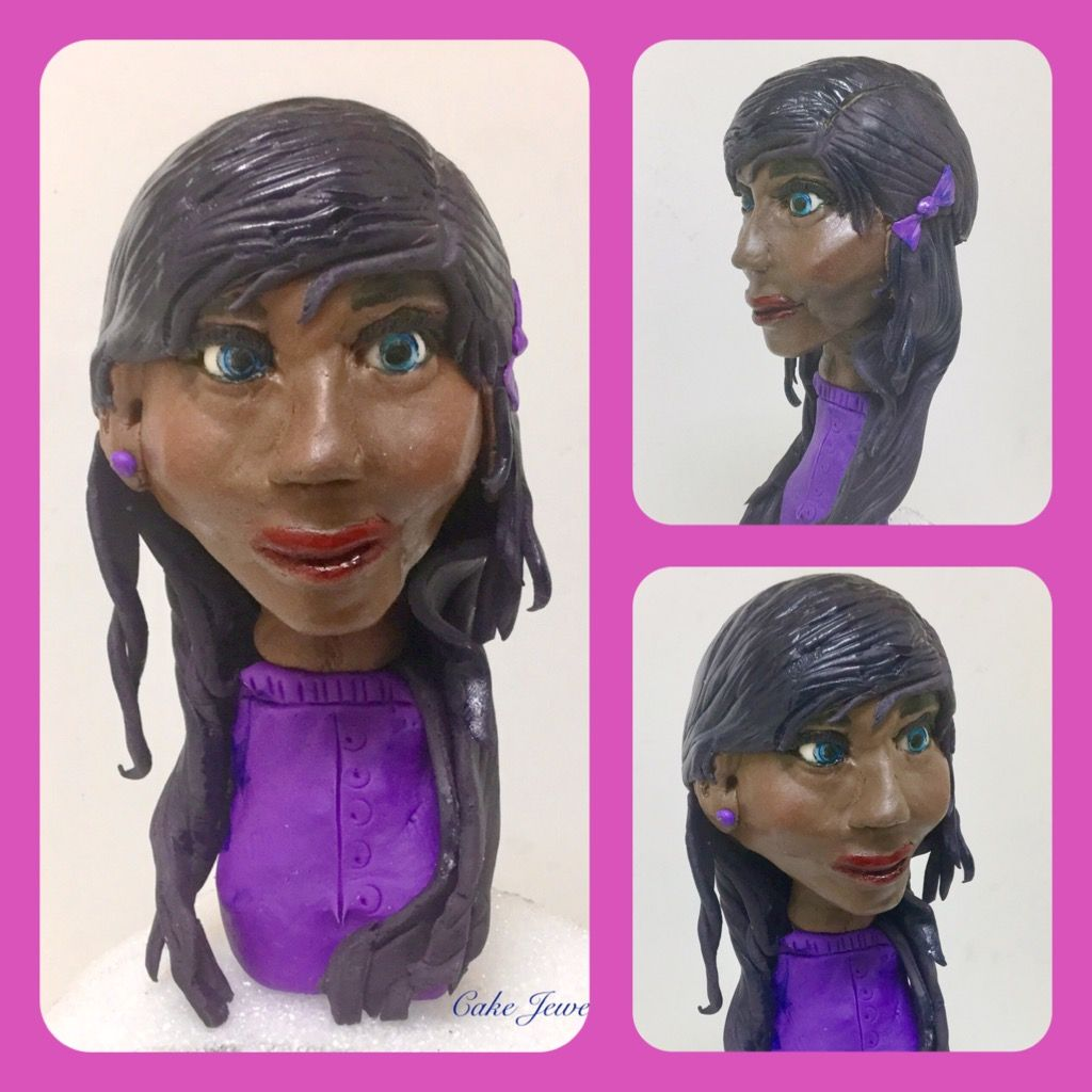 Modeling chocolate face sculpture