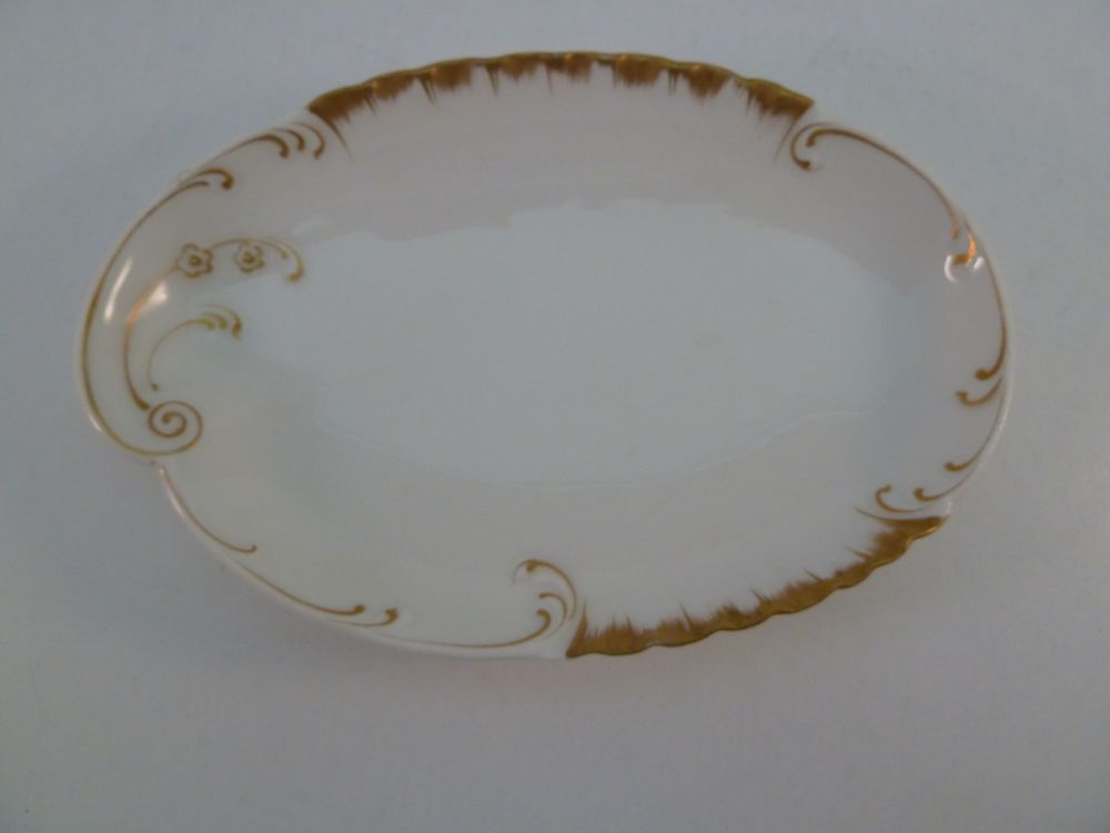 Antique Haviland Limoges Oval Dish for Candy Nuts Olives White Gold ...