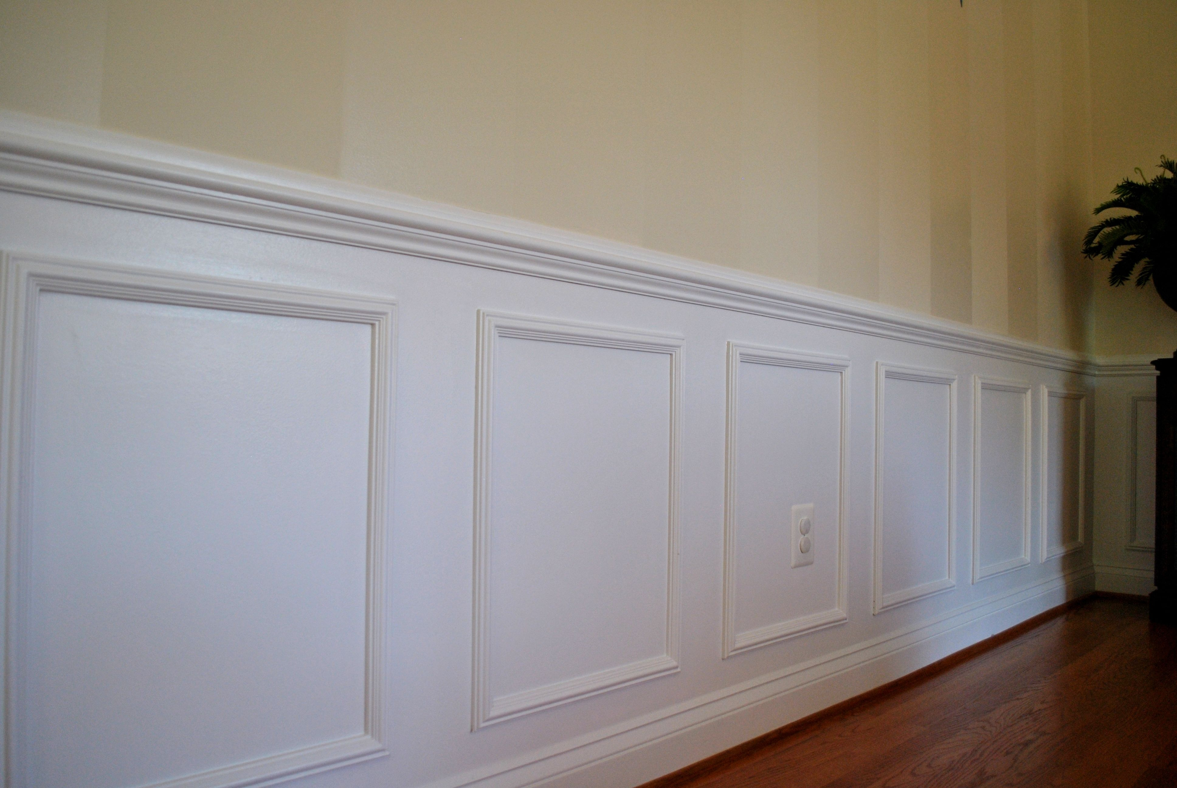 Diy pre made shadow box moulding panels decor for Dining room molding panels
