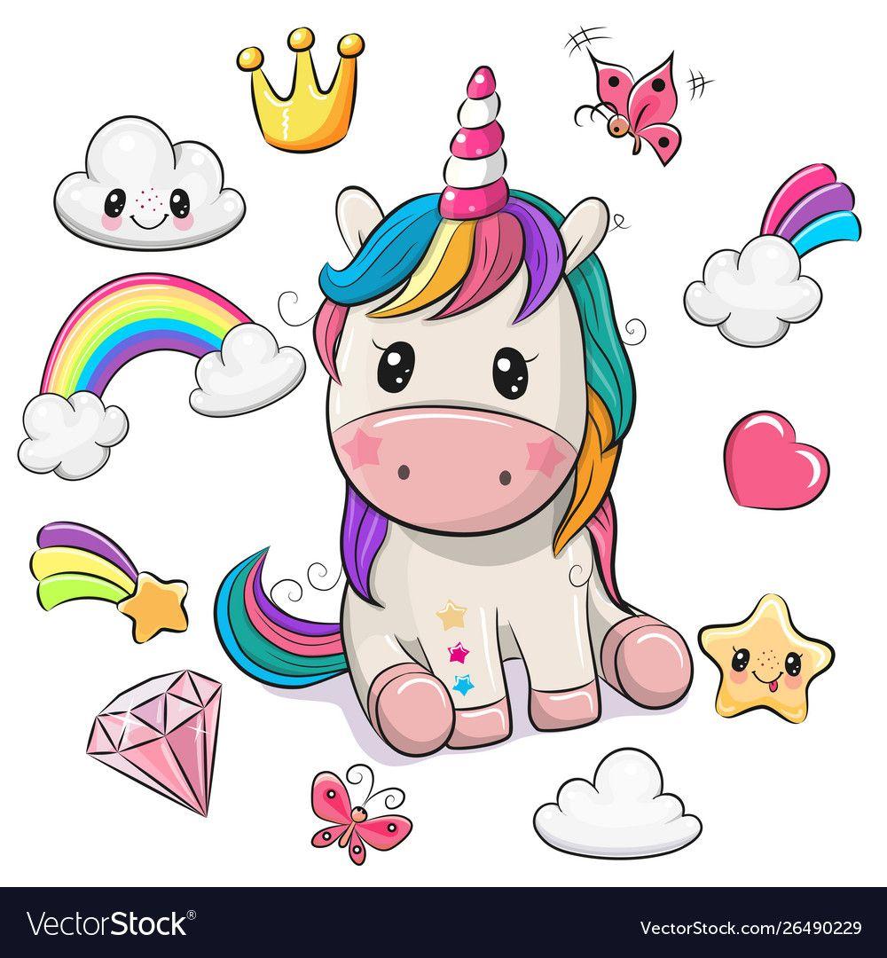 Cartoon unicorn and set cute design elements vector image