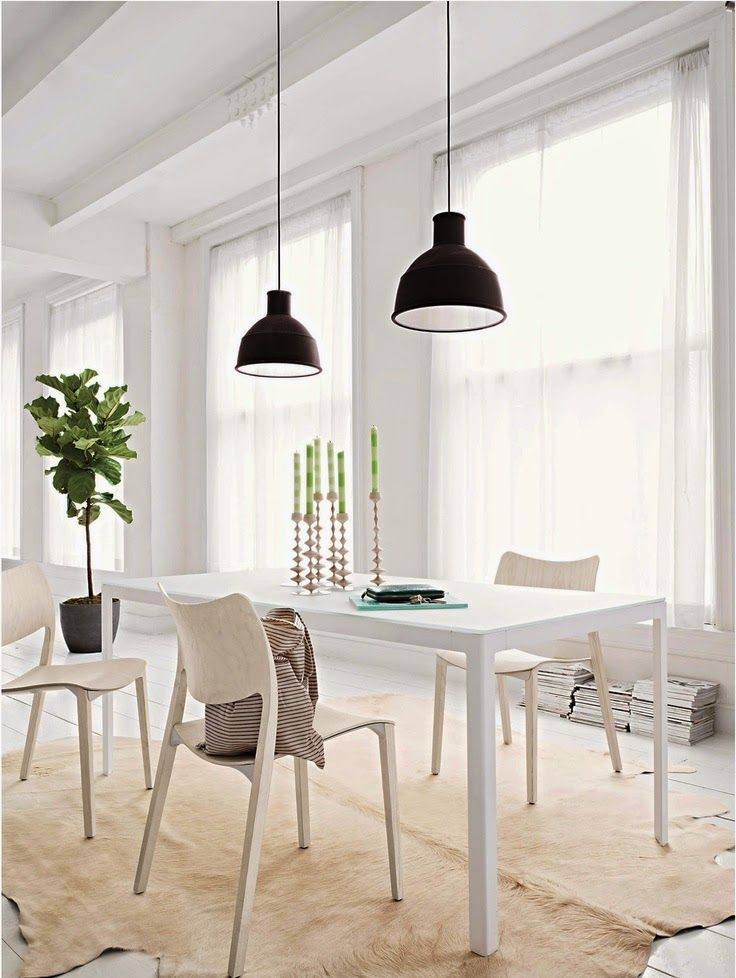 Chicdec 243 Muuto Chairs Beige Fur Rug Back Pendants White Table Wooden Candle Holder
