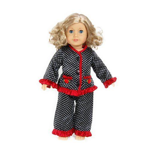 35822db775 Black White Polka Dot with Red Trim Pajama Set -- Fits American Girl Doll  (Toy)